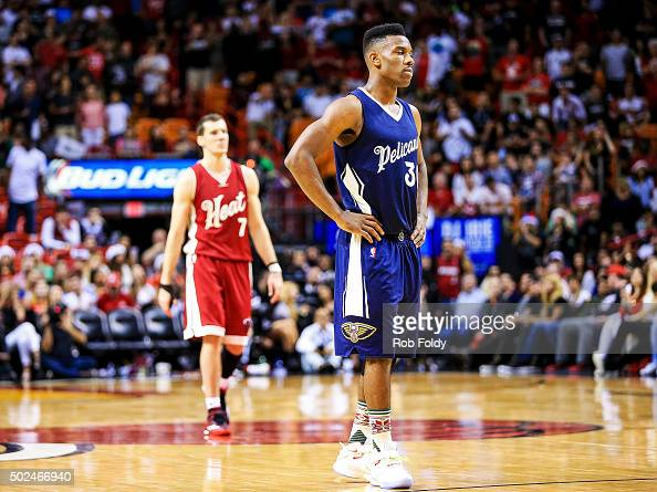 Norris Cole of the New Orleans Pelicans looks on during overtime of the game against the Miami Heat at American Airlines Arena on December 25 2015 in...