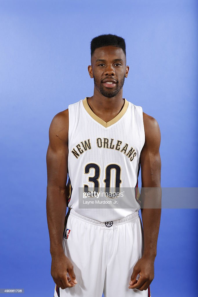 Norris Cole of the New Orleans Pelicans pose for photos during NBA Media Day on September 28 2015 at the New Orleans Pelicans practice facility in...