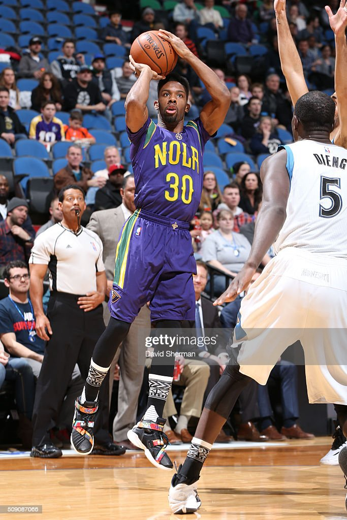 <a gi-track='captionPersonalityLinkClicked' href=/galleries/search?phrase=Norris+Cole&family=editorial&specificpeople=5770147 ng-click='$event.stopPropagation()'>Norris Cole</a> #30 of the New Orleans Pelicans shoots against the Minnesota Timberwolves during the game on February 8, 2016 at Target Center in Minneapolis, Minnesota.