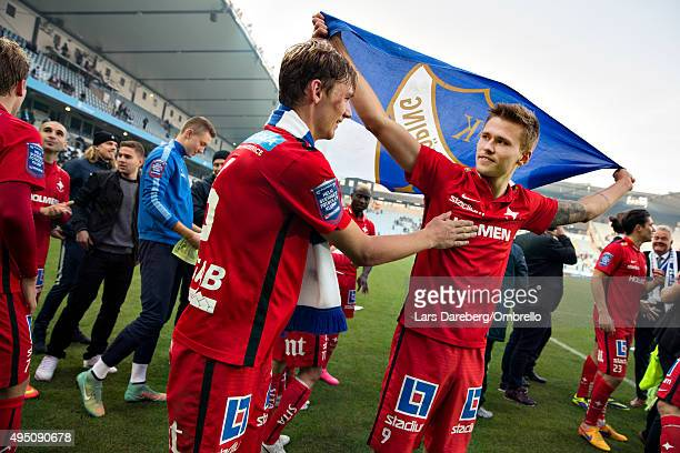 Norrkoping and Arnor Ingvi Traustason celebrate winning the Swedish League after the match between Malmo FF and IFK Norrkoping at Swedbank Stadion on...