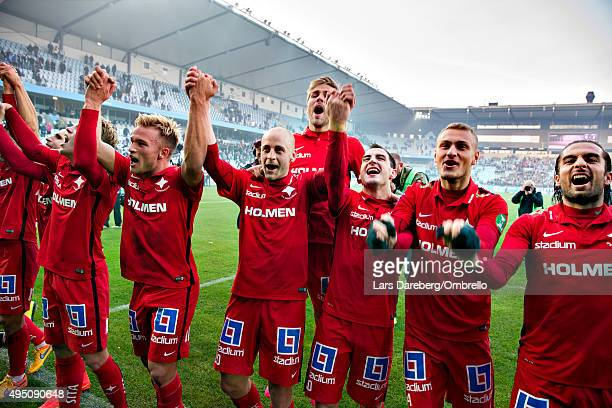 Norrkoping celebrate winning the Swedish League after the match between Malmo FF and IFK Norrkoping at Swedbank Stadion on October 31 2015 in Malmo...