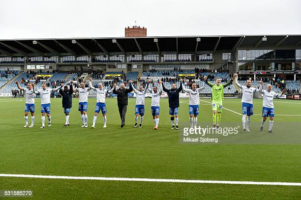 Norrkoping celebrates after the victory during the Allsvenskan match between IFK Norrkoping and GIF Sundsvall at Ostgotaporten on May 15 2016 in...