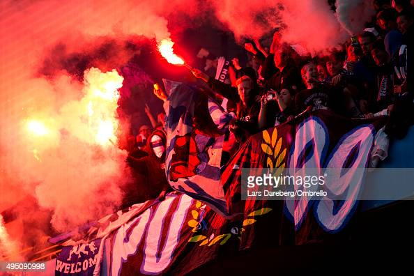Norrkoping fans during the match between Malmo FF and IFK Norrkoping at Swedbank Stadion on October 31 2015 in Malmo Sweden
