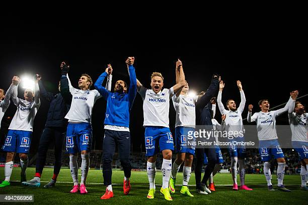 Norrkoping players celebrate the win after the IFK Norrkoping vs Halmstad BK Allsvenskan match at Nya Parken on October 25 2015 in Norrkoping Sweden