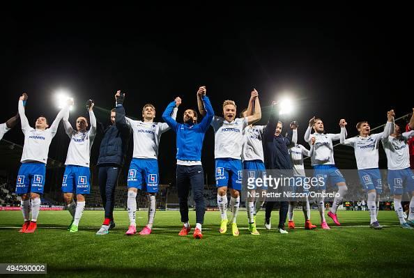 Norrkoping players celebrates the win after the IFK Norrkoping vs Halmstad BK Allsvenskan match at Nya Parken on October 25 2015 in Norrkoping Sweden
