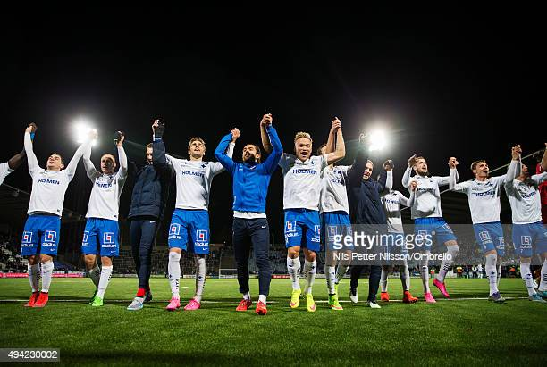 Norrkoping players celebrates the win after the IFK Norrkoping vs Halmstad BK Allsvenskan match at Nya Parken on October 25 2015 in Norrkoping Sweden