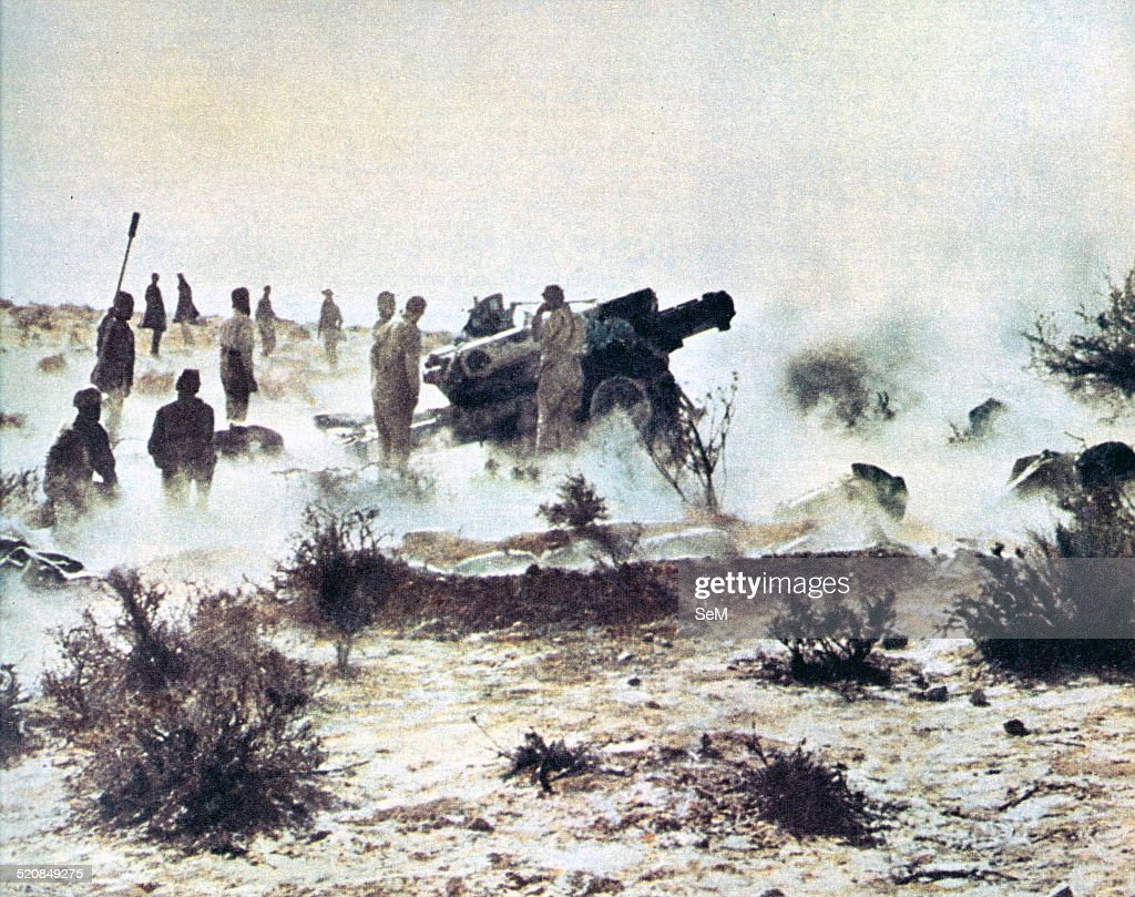 North Africa Second World War Campaign in the desert Italian artillery in action