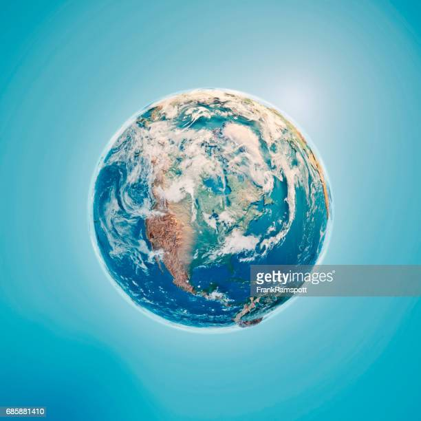 North America 3D Render Planet Earth Clouds