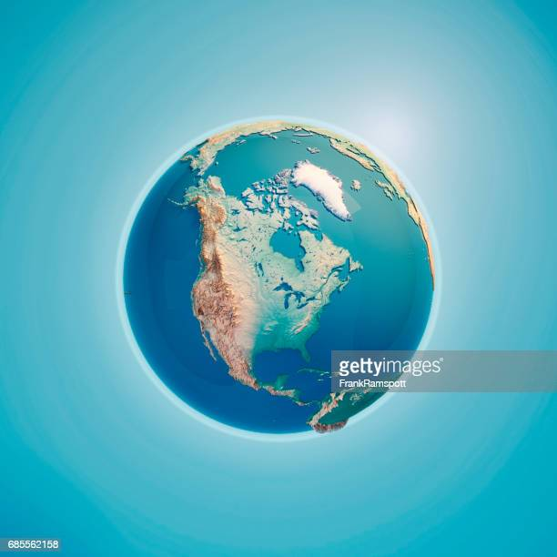 North America 3D Render Planet Earth