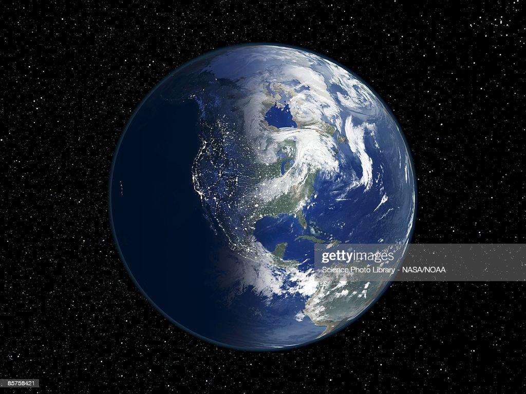 North America Day And Night Satellite Image Of The Earth Stock - North america satellite image