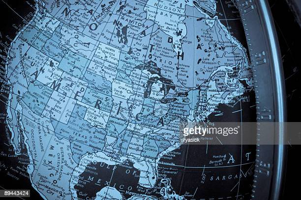 North America Map on a Globe with United States Region