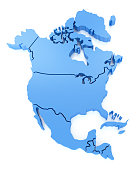 High detailed 3D North America Map on white background