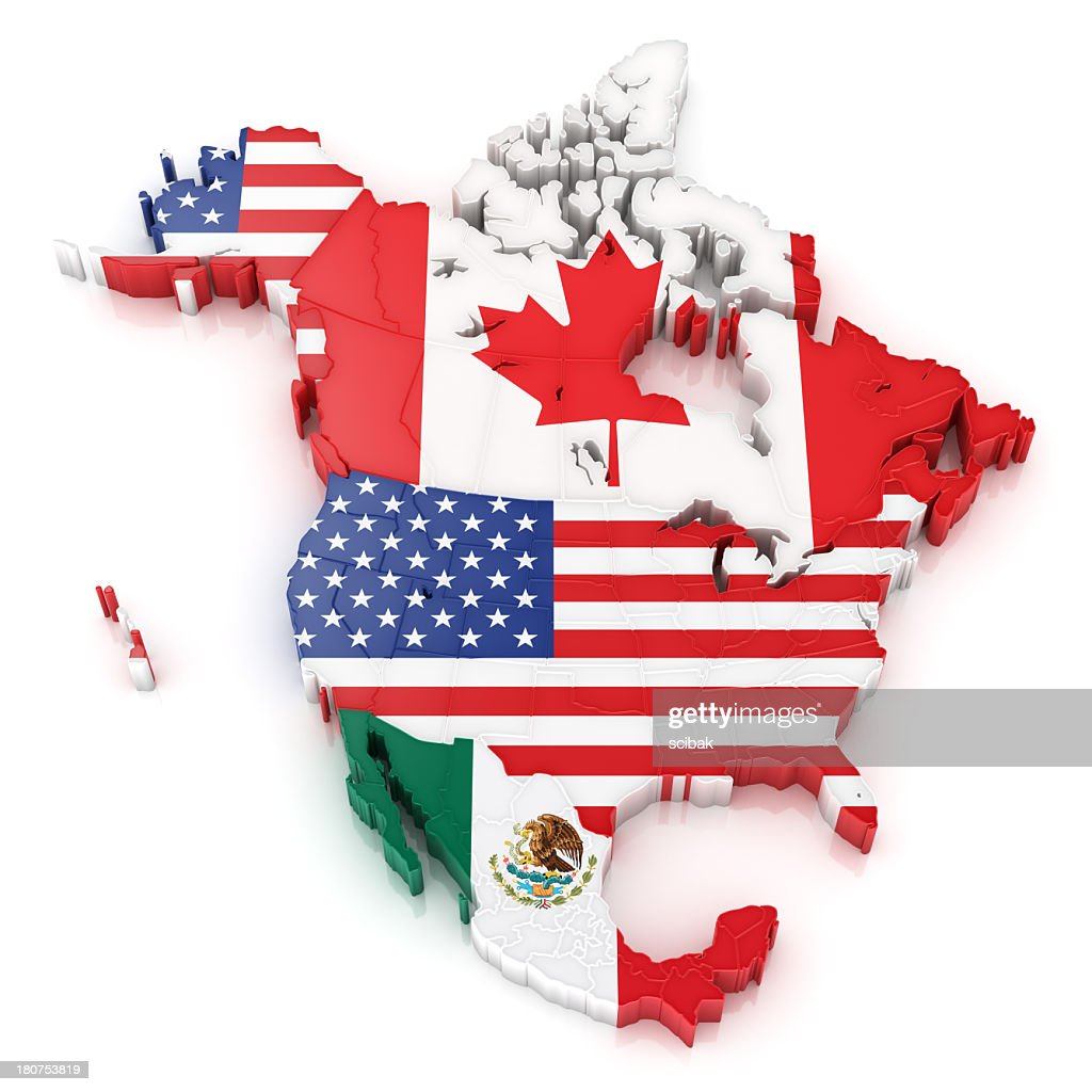 North America Map With Flags Of Usa Canada And Mexico Stock Photo - Usa canada mexico map