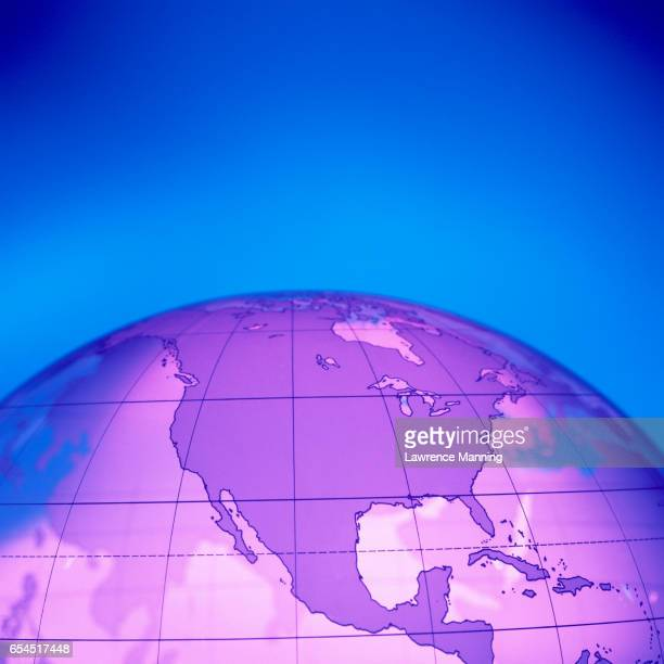 North America on Transparent Globe