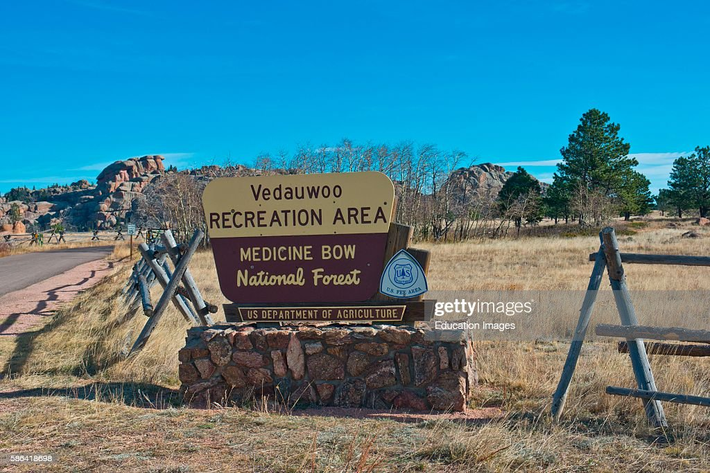 North America USA Wyoming Buford Vedauvoo Recreation Area Entrance Sign