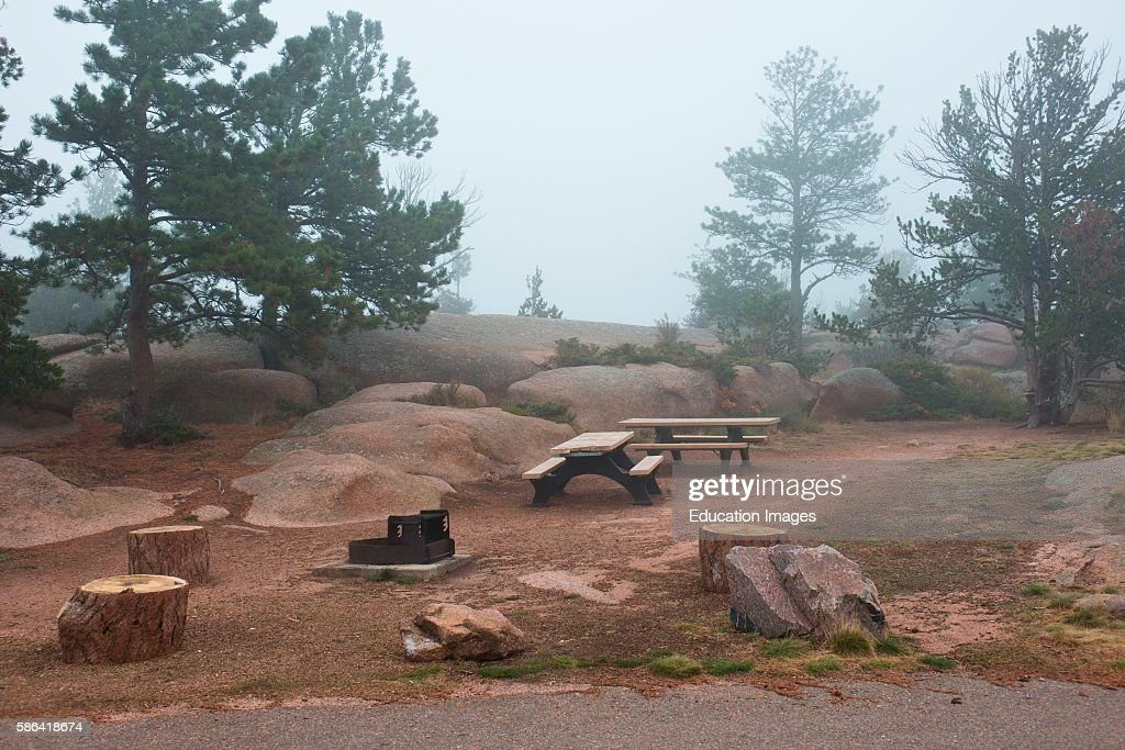 North America USA Wyoming Buford Vedauvoo Recreation Area Unique Rock formations of Sherman Granite Campsite in Fog