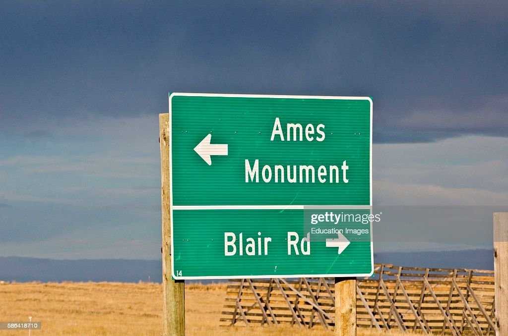North America USA Wyoming Laramie Ames Monument Directional Sign