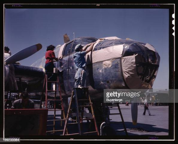 North American B25 bomber is prepared for painting on the outside assembly line North American Aviation Inc Inglewood California 1942