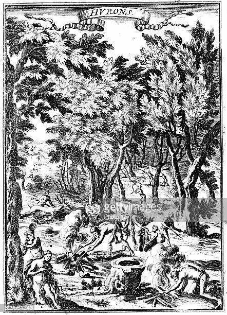 North American Huron Indians of what is now Virginia hunting and preparing food in woodlandFrom Alain Manesson Mallet 'Description de l'Univers...