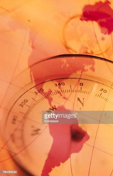 North and south america map with compass