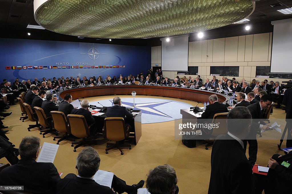 North Atlantic Treaty Organization (NATO) foreign ministers from the 28 NATO member-countries meet on December 4, 2012 at NATO headquarters in Brussels to discuss Syria and Turkey's request for Patriot missiles to be deployed protectively on the Turkish-Syrian border. AFP PHOTO / JOHN THYS