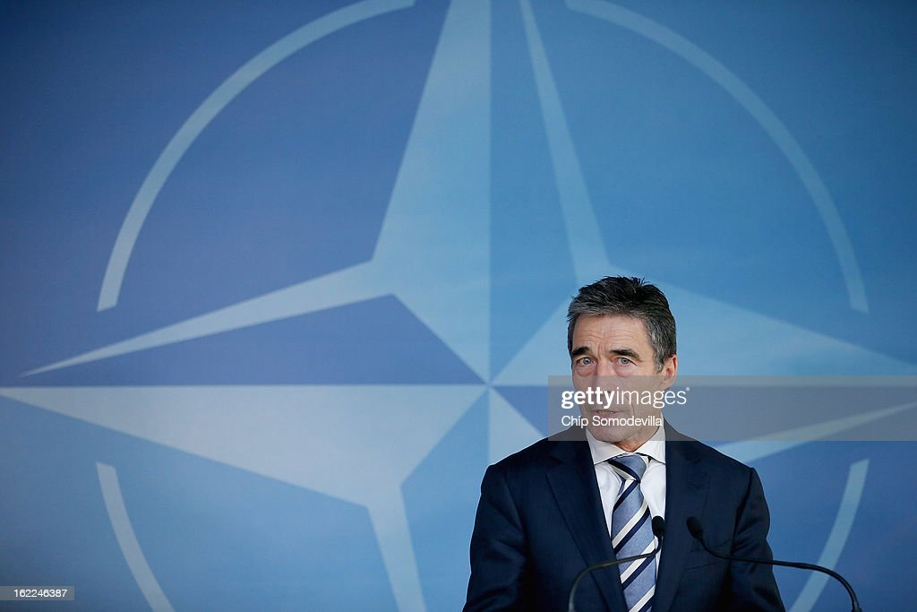 North Atlantic Treaty Organization Secretary General Anders Fogh Rasmussen holds a news briefing at NATO headquarters February 21 2013 in Brussels...