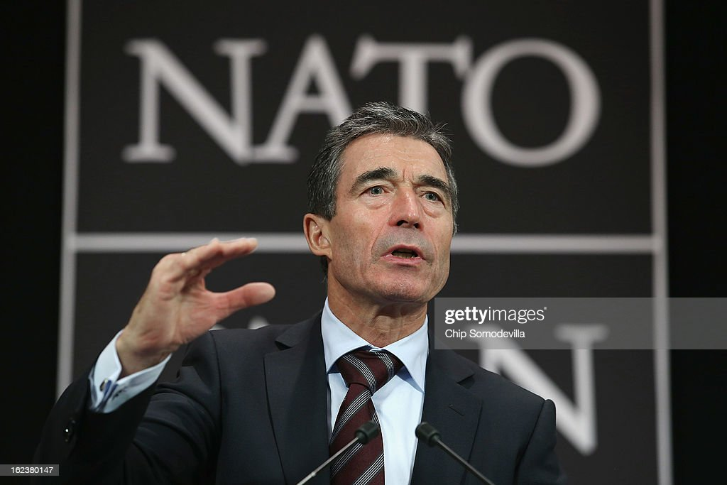 North Atlantic Treaty Organization (NATO) Secretary General <a gi-track='captionPersonalityLinkClicked' href=/galleries/search?phrase=Anders+Fogh+Rasmussen&family=editorial&specificpeople=549374 ng-click='$event.stopPropagation()'>Anders Fogh Rasmussen</a> holds a news conference at NATO headquarters February 22, 2013 in Brussels, Belgium. Rassmussen held the news conference at the conclusion of the NATO Defense Ministers Meetings.