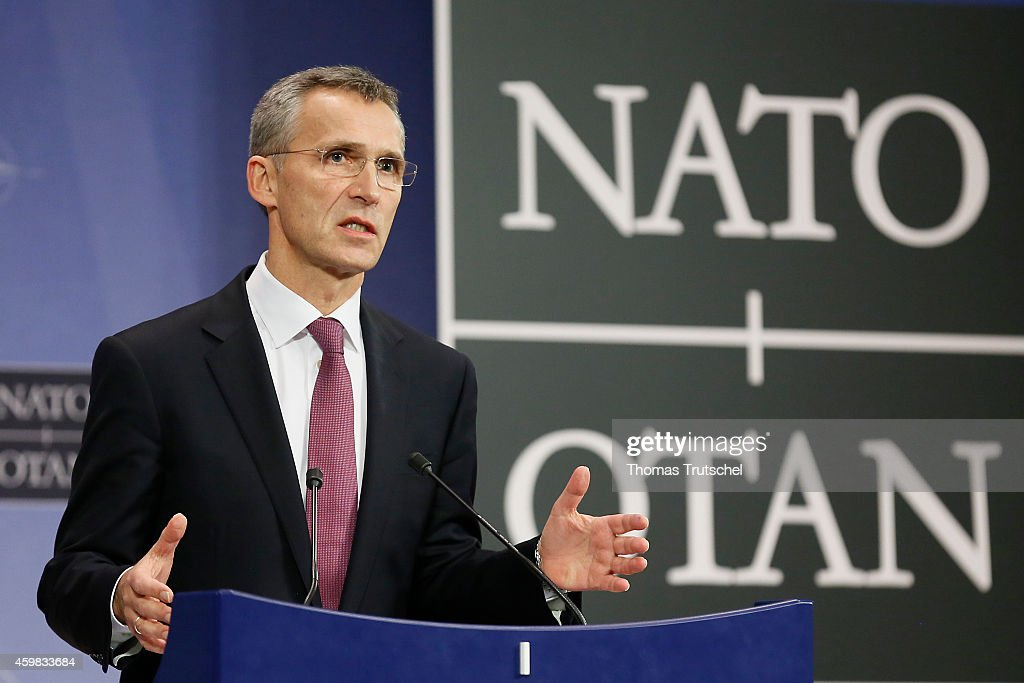 North Atlantic Treaty Organization (NATO) Secretary General <a gi-track='captionPersonalityLinkClicked' href=/galleries/search?phrase=Jens+Stoltenberg&family=editorial&specificpeople=558620 ng-click='$event.stopPropagation()'>Jens Stoltenberg</a>, speaks to the media during a North Atlantic Treaty Organization (NATO) Foreign Affairs Ministers meeting on December 02, 2014 in Brussels, Belgium.