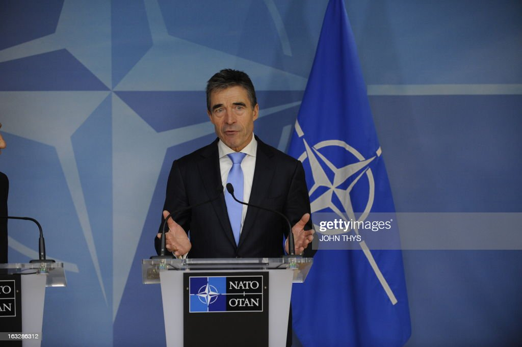 North Atlantic Treaty Organization (NATO) Secretary-General Anders Fogh Rasmussen gives a press conference on March 7, 2013 after a bilateral meeting with the Israeli president at organization headquarters in Brussels. THYS