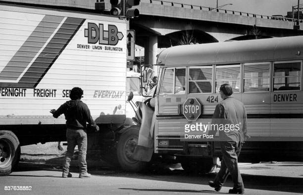North bound Washington St at the 170 east bound entrance ramp A Denver Public School Bus driven by Teresa Marti was taking 3 students home from JFK...