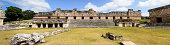Panoramic of the North building of the Nunnery Quadrangle at the Mayan ruins of Uxmal, Yucatan, Mexico.