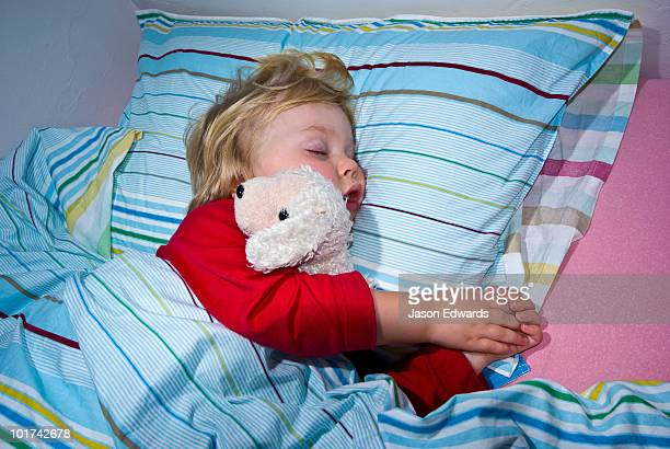 A toddler cuddles a woolen sheep toy whilst fast asleep in bed.