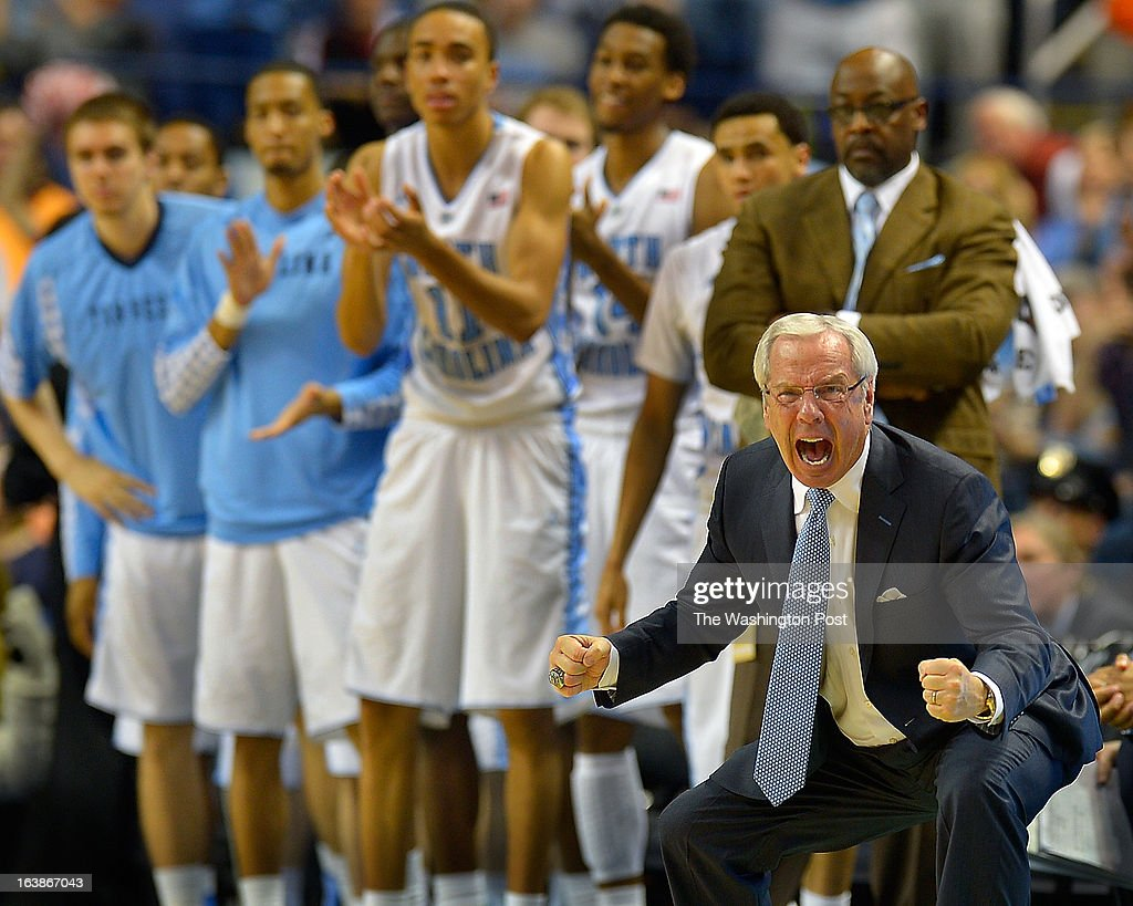 North Carolina Basketball coach Roy Williams reacts as the score is close in the final minutes of the game as the North Carolina Tar Heels defeat the Maryland Terrapins 79 - 76 in the ACC mens basketball semifinal at the Greensboro Coliseum in Greensboro NC, March 16, 2013.