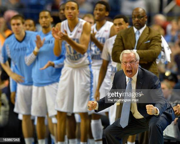 North Carolina Basketball coach Roy Williams reacts as the score is close in the final minutes of the game as the North Carolina Tar Heels defeat the...