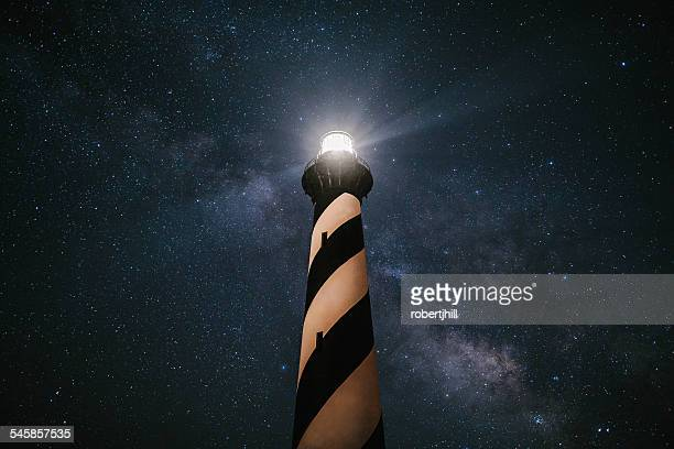 USA, North Carolina, Cape Hatteras Lighthouse under The Milky Way