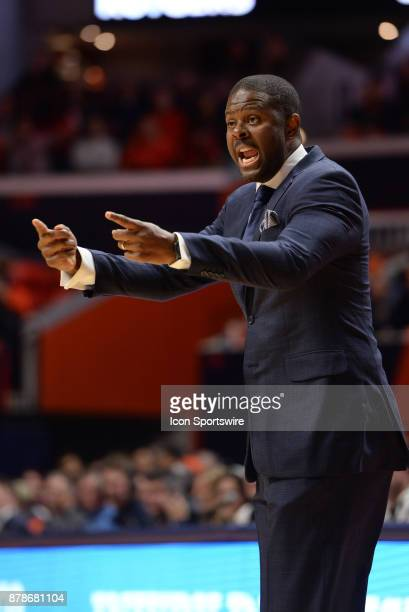 North Carolina Central Eagles head coach LeVelle Moton point to a player during the college basketball game between the North Carolina Central Eagles...