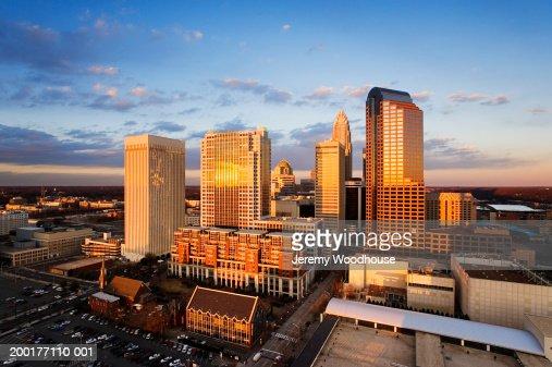 USA, North Carolina, Charlotte, cityscape at dusk, elevated view