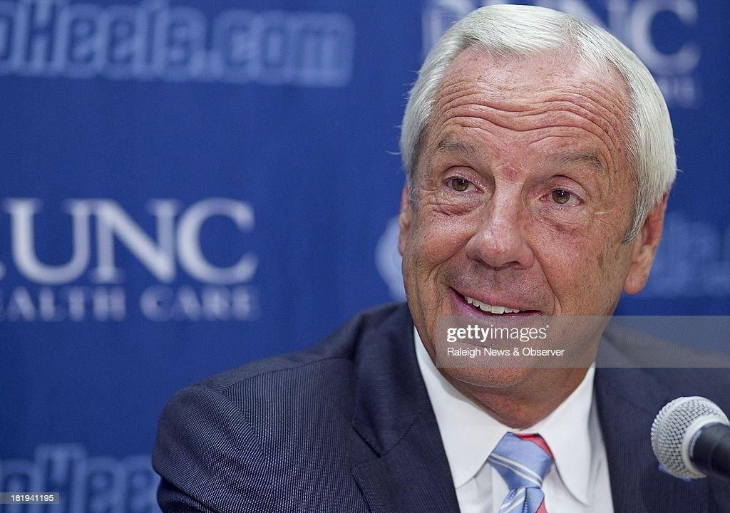 North Carolina coach Roy Williams talks to the media during a press conference at the Smith Center in Chapel Hill, North Carolina, on Thursday September 26, 2013.