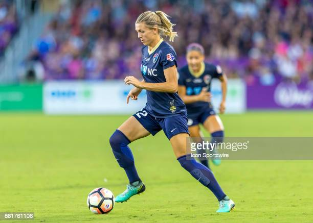 North Carolina Courage defender Stephanie Ochs dribbles the ball during the NWSL soccer Championship match between the North Carolina Courage and...