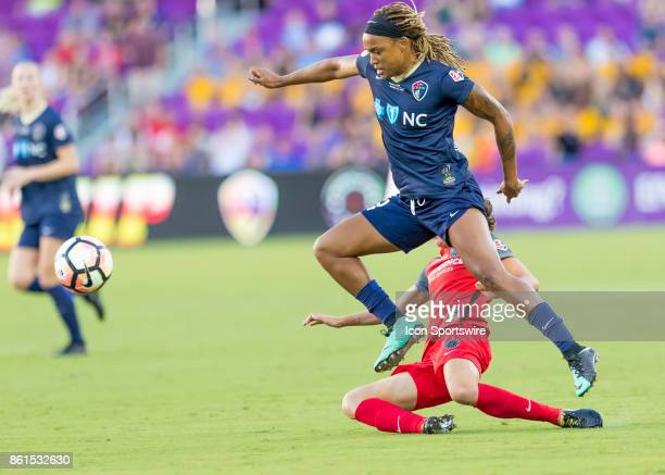 North Carolina Courage forward Jessica McDonald frees the ball during the NWSL soccer Championship match between the North Carolina Courage and...