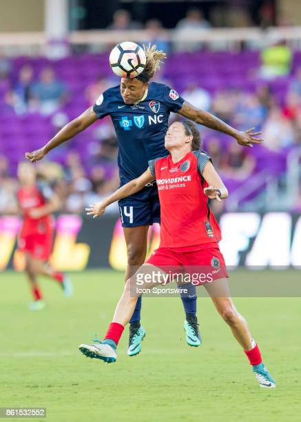 North Carolina Courage forward Jessica McDonald heads the ball during the NWSL soccer Championship match between the North Carolina Courage and...