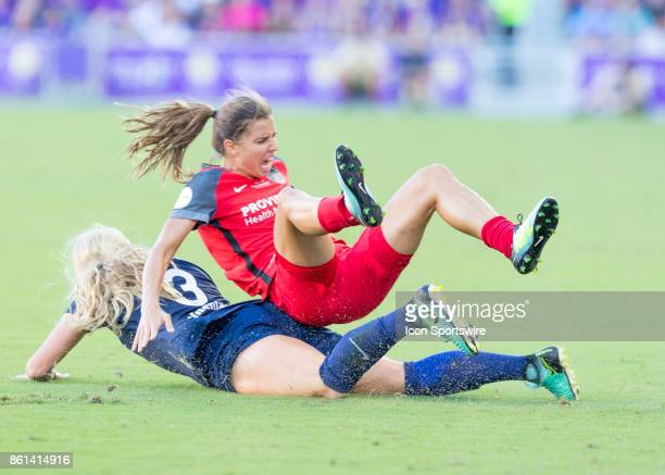 North Carolina Courage forward Makenzy Doniak makes a hard fouls to Portland Thorns FC midfielder Tobin Heath during the NWSL soccer Championship...