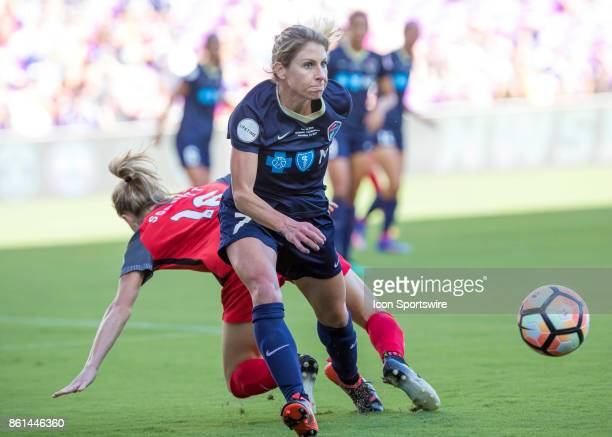 North Carolina Courage midfielder McCall Zerboni passes the ball during the NWSL soccer Championship match between the North Carolina Courage and...