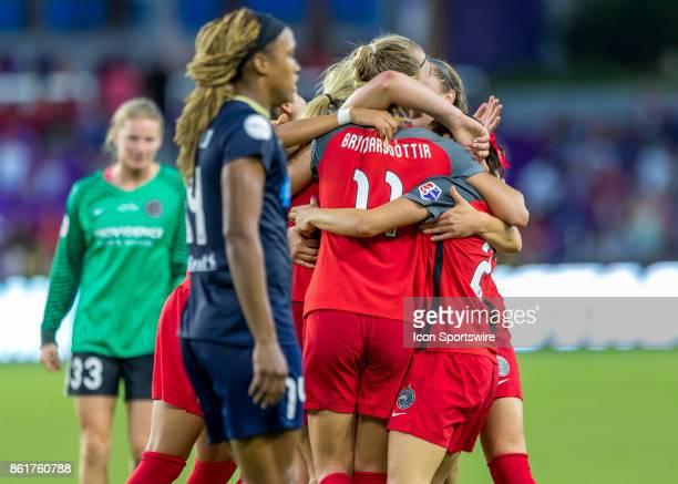 North Carolina Courage team celebrates winning the championship during the NWSL soccer Championship match between the North Carolina Courage and...