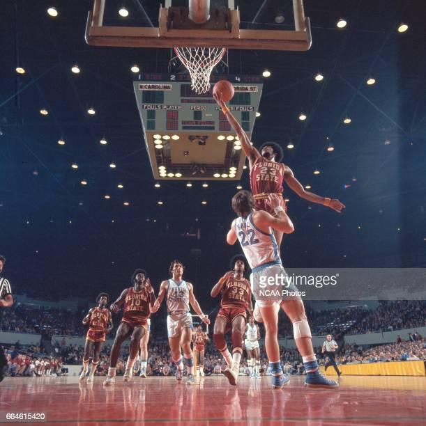 North Carolina guard George Karl and Florida State forward Rowland Garrett during the NCAA Men's National Basketball Final Four semifinal game held...