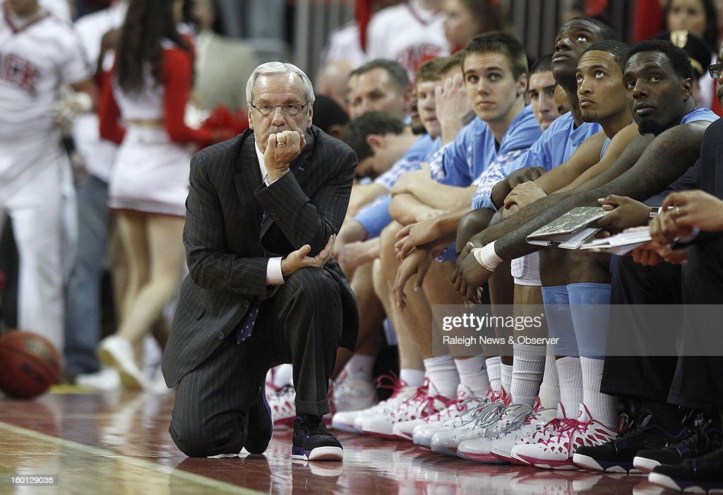 North Carolina head coach Roy Williams watches during the second half of a 91-83 loss to North Carolina State on Saturday, January 26, 2013, at the PNC Arena in Raleigh, North Carolina.