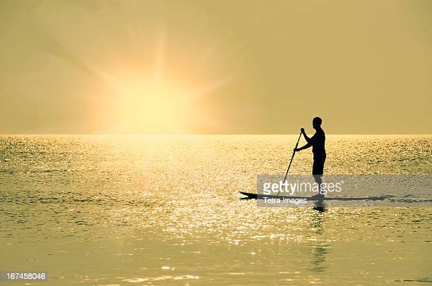 USA, North Carolina, Nags Head, Man standing on paddle board at sunset