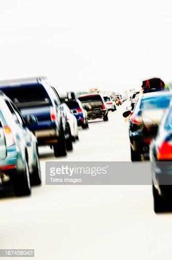 USA, North Carolina, Nags Head, Traffic during rush hour : Stock Photo