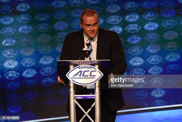North Carolina offensive tackle Bentley Spain addresses the media on day 2 of the ACC Football Kickoff at the Westin Hotel in Charlotte NC on July 14...