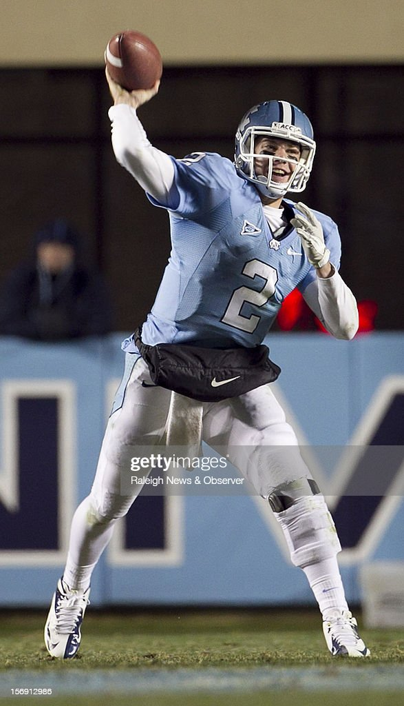 North Carolina quarterback Bryn Renner (2) releases a pass in the third quarter against Maryland on Saturday, November 24, 2012, at Kenen Stadium in Chapel Hill, North Carolina. The host Tar Heels won, 45-38.